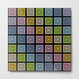 Pastel Rainbow Squared Black Metal Print