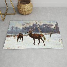 Rosa Bonheur - Deer And Doe In A Snowy Landscape - Digital Remastered Edition Rug