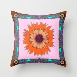 Western Style Chocolate Brown Pink-Orange Sunflower Art Throw Pillow