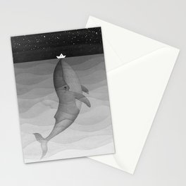Black and white, whale, paper boat Stationery Cards