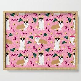 Rad Corgi Dog - 80s, 90s retro style rad corgi cute corgi design - pink Serving Tray