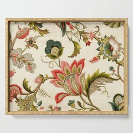 Jacobean Floral Crewel Embroidery Pattern Digital Art Vector Painting Serving Tray