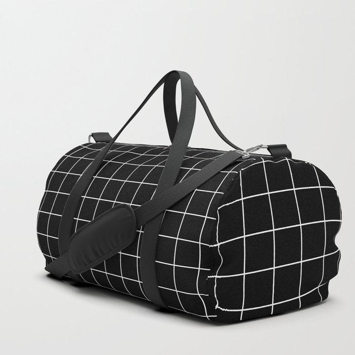 Grid Pattern Line Stripe Black and White Minimalist Geometric Stripes Lines Sporttaschen