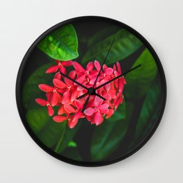 Secret Red Bunch Of Blowers Among Bright Green Leaves Nature Art Wall Clock