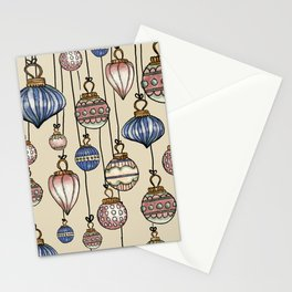 Christmas Ornaments Gold & Blue palette_watercolor  Stationery Cards