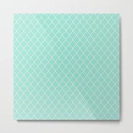 Quatrefoil Fresh Mint Metal Print