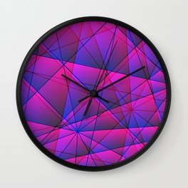 Geometric web of pink lines with light triangular highlights. Wall Clock