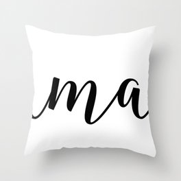 'Namaste' Pose in Bright Solid White and Black Text Yoga Exercise Throw Pillow