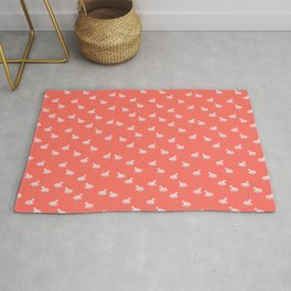 Flamingos and Living Coral Pantone 2019 Color Rug