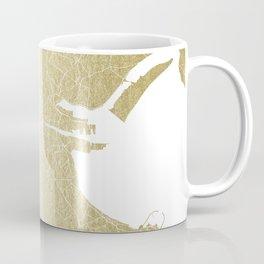 Dublin Street Map Gold and White Coffee Mug