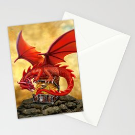 Red Dragon's Treasure Chest Stationery Cards