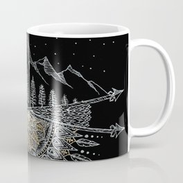 Moon and Stars Night Sky Mountain Range Arrow Mandala With Star Background Coffee Mug