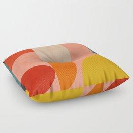 geometry shape mid century organic blush curry teal Floor Pillow