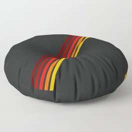 Minimal Red Thin Retro Stripes Art On Black - Ahuizotl Floor Pillow