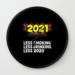 2021 New Year Resolutions Smoking Drinking Wall Clock