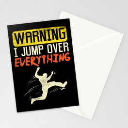 Warning I Jump Over Everything Freerunning Traceurs Parkour Stationery Cards