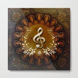 Music, wonderful decorative clef Metal Print