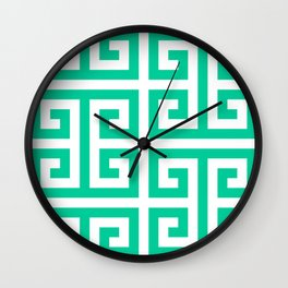 Large Caribbean Green Greek Key Pattern Wall Clock