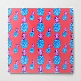 Tropical Punch, Pineapple Pattern Metal Print