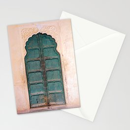 Antique door in India - Teal door, peach wall Stationery Cards