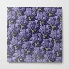 Purple Sweet Pea Pattern Metal Print