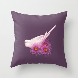 White Budgerigar Throw Pillow