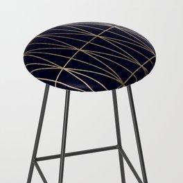 Modern gold geometric triangles pattern navy blue watercolor Bar Stool