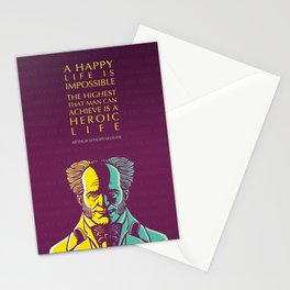 Arthur Schopenhauer Inspirational Quote: A Happy Life Is Impossible Stationery Cards
