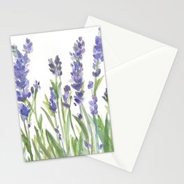 lavender garden watercolor Stationery Cards