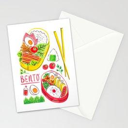 Japanese Bento Rice Lunch Box with Chopsticks & Onigiri Stationery Cards