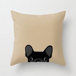 French Bulldog - Black on Tan Throw Pillow