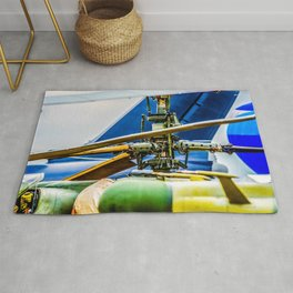 Coaxial Main Rotor Of A Modern Helicopter. Blades And Tails Aviation Art Rug