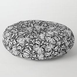 Monarch Butterflies Pattern | Butterfly Pattern | Black and White | Floor Pillow