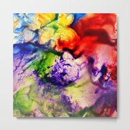 Abstract Encaustic Colorful Flowers, Metal Print