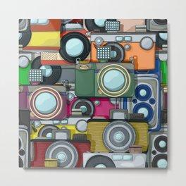 Vintage camera pattern Metal Print