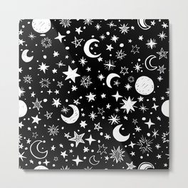 Black Stars & Moon Night Mood Metal Print