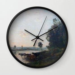 Charles-François Daubigny - Soleil levant, bords de l'Oise Wall Clock