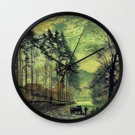 John Atkinson Grimshawn -Near Hackness, A Moonlit Scene With Pine Trees - Digital Remastered Edition Wall Clock
