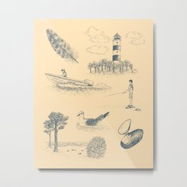 Seaside Town Toile Pattern (Beige and Gray) Metal Print