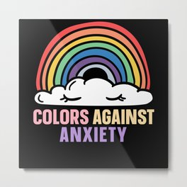 Colors Against Anxiety Yami Kawaii Menhera Rainbow Metal Print