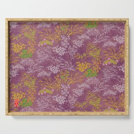Japanese pattern floral purple Serving Tray