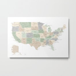 "Map of the USA, ""Anouk"" Metal Print"