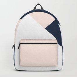 Blush meets Navy Blue & White Geometric #1 #minimal #decor #art #society6 Backpack