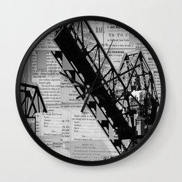 Rail Bridge in Black and White Wall Clock