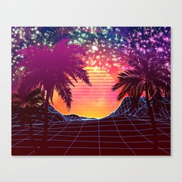 Festival vaporwave landscape with rocks and palms Leinwanddruck