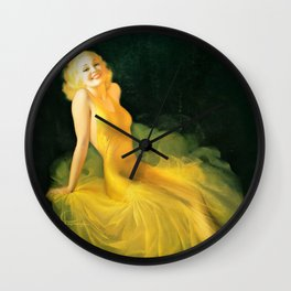 """Pinup by Rolf Armstrong """"The Yellow Gown"""" Wall Clock"""