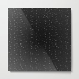 Minimal Pattern :: Black Triangle Moon Metal Print