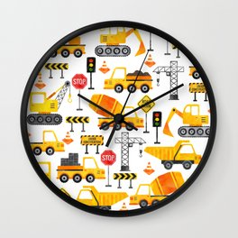Watercolor Construction Vehicles Wall Clock