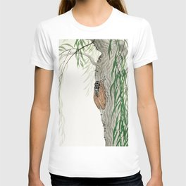 Cicada on a weeping willow tree - Japanese vintage woodblock print T-shirt