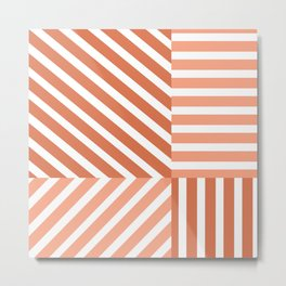 Uneven four types of striped pattern  Metal Print